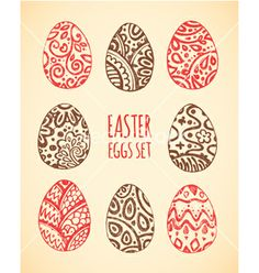 Eastern sketch eggs set vector by Lara_Cold on VectorStock®
