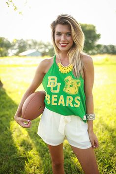Baylor Bears tank + flowy cream shorts