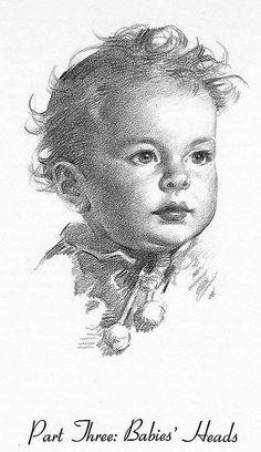 Andrew Loomis - Illustrator and Artist Pencil Portrait Drawing, Portrait Sketches, Portrait Art, Pencil Drawings, Art Sketches, Drawing Heads, Cool Art Drawings, Baby Face Drawing, Andrew Loomis