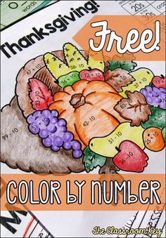 Thanksgiving activity, free color by number practicing +10/-10
