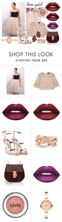 """""""ROSE GOLD"""" by ariffka on Polyvore featuring мода, Limited Edition, Needle & Thread, Lime Crime, Sophia Webster, David Yurman, Chloé и Movado"""