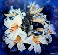 """Imperial Lily XV"" painting oil on canvas, Artist Aurora Lunic Aurora, Oil On Canvas, Lily, Artist, Painting, Painting Art, Lilies, Paint, Draw"