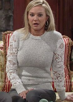 Sharon's lace sleeve sweater on The Young and the Restless.  Outfit Details: https://wornontv.net/56794/ #TheYoungandtheRestless