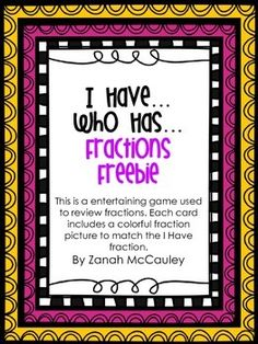 I Have...Who Has.. Fractions FREEBIE    (500 TPT Followers FREEBIE)