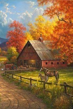 Landscape paintings acrylic farm 45 ideas for 2019 Farm Paintings, Nature Paintings, Beautiful Paintings, Beautiful Landscapes, Barn Pictures, Nature Pictures, Landscape Art, Landscape Paintings, Autumn Scenes