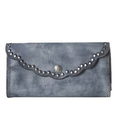 Another great find on #zulily! Gray Studded Scallop Leather Wallet #zulilyfinds