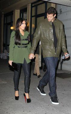 Kim Kardashian wearing Christian Louboutin Daffodile Point-Toe Platform Pumps Balenciaga Leggings Burberry DROP WAIST DUFFLE TRENCH JACKET. Kim Kardashian Out in New York October 5 2011.