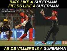 AB de Villiers is a SUPERMAN! - facebook.com/MyCricketTrolls
