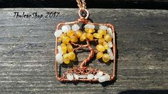 Tree of life Baltic Amber Milky moonstone square pendant necklace, First snow on autumn leaves, sun catcher, healing, good luck, protection
