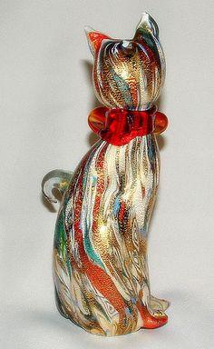 Murano Art Glass Cat Figurine Artist Signed by vintageandmorestore