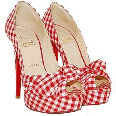 Christian Louboutin Red Gingham Pumps ❤ liked on Polyvore featuring shoes, pumps, heels, sapatos, christian louboutin, scarpe, heels & pumps, christian louboutin shoes, red shoes and red heel shoes