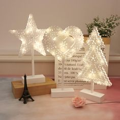 Heart Star Christmas Tree Shape Decorative LED Mood Lights Girls Bedroom Decor Batteries Operated Night Lights,Birthday Gifts Christmas Displays, Christmas Tree, Girls Bedroom, Bedroom Decor, Light Girls, Tree Shapes, Night Lights, Decorative Accessories, Birthday Gifts