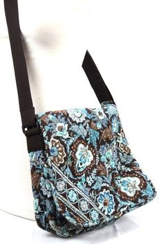 Authentic VERA BRADLEY Blue Brown Floral MESSENGER CROSSBODY BAG Purse Tote