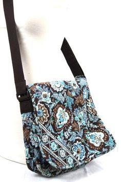 Authentic VERA BRADLEY Blue Brown Floral MESSENGER CROSSBODY BAG Purse Tote 65313860b5e85