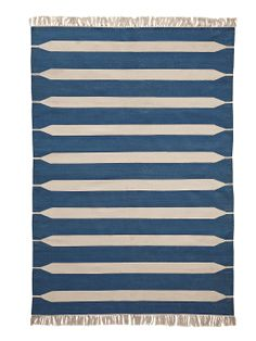Indigo Paddle Stripe Dhurrie by Serena & Lily at Gilt