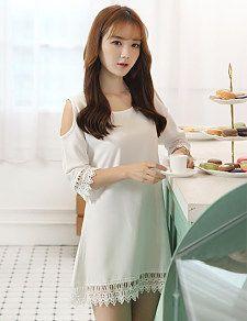 White stitching lace dress