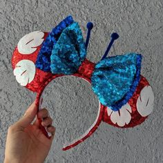Lilo & Stitch Mouse Ears Minnie Mouse Ears Mickey Ears Custom Ears Disney Ears Gift for her gifts Gift handmade Lilo Stitch Disney Cute, Diy Disney Ears, Disney Mickey Ears, Walt Disney, Mickey Ears Diy, Disney Bows, Micky Ears, Disney Outfits, Disney Ears Headband
