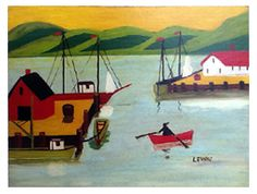 Maud Lewis painting of a harbour scene with mustard sky