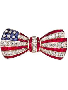 Red, White, and Blue Bow Brooch by OSCAR HEYMAN from Richters Jewelry
