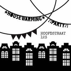 Een hippe, stoere uitnodiging in zwart wit voor een housewarming party! Met leuke letterslingers. Verkrijgbaar bij #kaartje2go voor €1,89