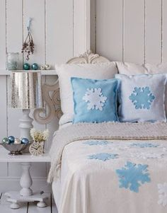 Blue Snowflakes Bedding for Christmas