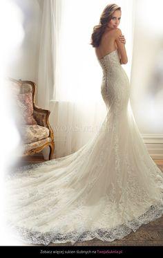 #strapless #weddingdress #mermaidstyle #train #lace #sophiatolli #spring2015