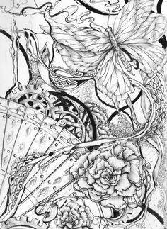 Skull Coloring Pages, Adult Coloring Book Pages, Coloring Pages To Print, Colouring Pages, Coloring Books, Badass Tattoos, Color Pencil Art, Zentangle Patterns, Color Tattoo
