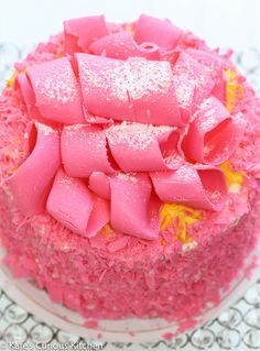 The famous hot-pink white chocolate curls.