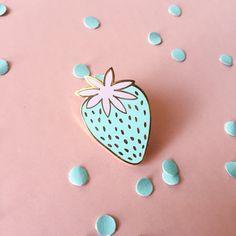 Pastel Strawberry enamel pin / light blue enamel by PardonMyTone