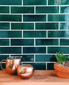 Green Subway Tile Green And Copper Kitchen Tile Green Subway Tile Ceramic Peel And Stick Tile, Stick On Tiles, Deco Design, Küchen Design, Design Ideas, Tile Design, New Kitchen, Kitchen Decor, Kitchen Wood