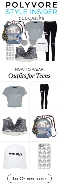 """""""Rule School: Cool Backpacks"""" by reicreic on Polyvore featuring Chanel, New Look, Miss Selfridge, NASASEASONS, Linda Farrow, Converse, Casetify, backpacks, contestentry and PVStyleInsiderContest"""