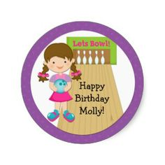 Bowling Birthday party sticker