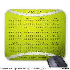 Tennis Ball Design 2017 Calendar Mousepad