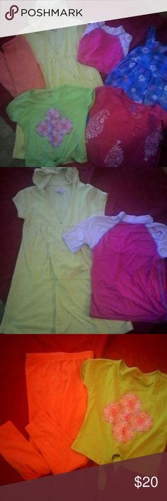 Girls 7/8 Lot of 6 Summer Dress Beachwear Tops Leg This is a lot of summer clothing all in a girls size 7/8.  includes: one Terry beach cover-up by OP in yellow, hood,. Short sleeves.  One sun protection swim shirt by Sunskinz in pink + white.  One pair orange cotton knit leggings by Circo.  One. Cotton knit crop top by JK Girls green with pink floral design on front. One cotton knit sundress by Old Navy in pink  with white Paisley print.  Short sleeves, hi low hem.  One cotton knit sundress…