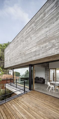 Nice combination of wood and concrete