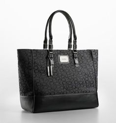 Calvin Klein Logo Jacquard Fabric Shopper Tote Signature Bag Black - Handbag