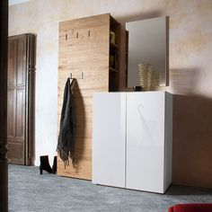 Genie Hallway Set 1 In White High Gloss And Natural Oak 2764 #furnitureinfashion #hallway #interiordesign #whitegloss #shoecabinet