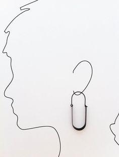 Silver Ovoid Loop Earrings 1 por Laminar en Etsy