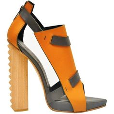 ALAIN QUILICI Bess Sandal ($320) ❤ liked on Polyvore featuring shoes, sandals, heels, обувь, zapatos, black heeled shoes, orange shoes, orange heeled sandals, black heeled sandals and wooden heel sandals