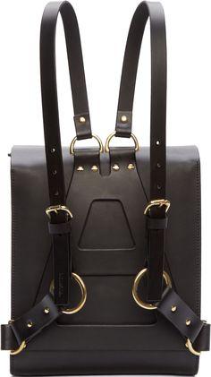 Fleet Ilya Black Leather Medium Harness Backpack Back View