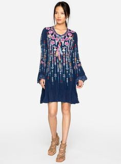 2cee5dd57de New Arrival: Lulu Tunic in Blue Night #johnnywas Embroidered Tunic, Johnny  Was,
