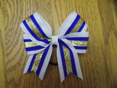 white royal blue and gold glitter bow by MZBOWTIQUE on Etsy, #cheerbow #cheer #softball