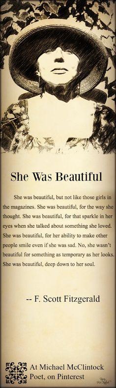 F. Scott Fitzgerald quote: She Was Beautiful