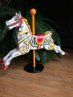Fairground carousel horse. Papier mache sculpture. One of a kind detailed hand painted ornament.