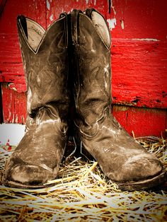 My sons old boots Old Boots, Cowboy Boots, Working Man, Senior Girls, Cowboys, Sons, Objects, Country, Painting