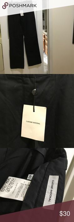 Costume National black cotton designer pants, 40 e Fabulously soft pants can be casual or dressy.  Black.  New with tags.  98% cotton 2% spandex.  Belt loops.  Pockets.  Made in Poland.  Size 40 European sizing. Costume National Pants Trousers