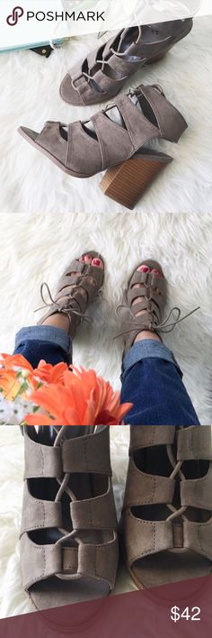 """nwt//qupid • cutout mule sandals : Qupid ▫️taupe """"Barnes"""" mules sandals - these are a top seller nationwide! ▫️lace up, peep toe ▫️faux suede ▫️cutout heel ▫️heel height: 3.75"""" ▫️front tie closure ▫️size: 6 ▫️condition: new with box; there may be sticker residue on box •please read description & ask questions before purchasing• •no trades• Qupid Shoes Sandals"""