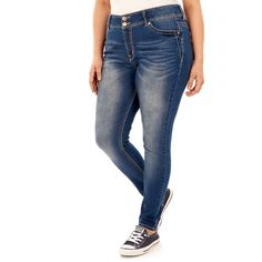 Juniors' Plus Size Wallflower Luscious Curvy Embroidered Skinny Jeans, Blue (Navy)