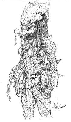 Predator sketch 2 by druje on DeviantArt Female Yautja, Predator Costume, Aliens Colonial Marines, Alien Concept Art, Horror Monsters, Alien Vs Predator, Sketch 2, Xenomorph, Fantasy Warrior