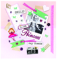 Scrapbook page made with our free downloadable templates and 3D toppers. We love the ballerina sticker!